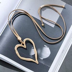 Trandy Long Necklace with Love Heart Gold Pendant